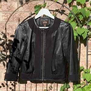 DANIER No Collar Cropped Leather Jacket